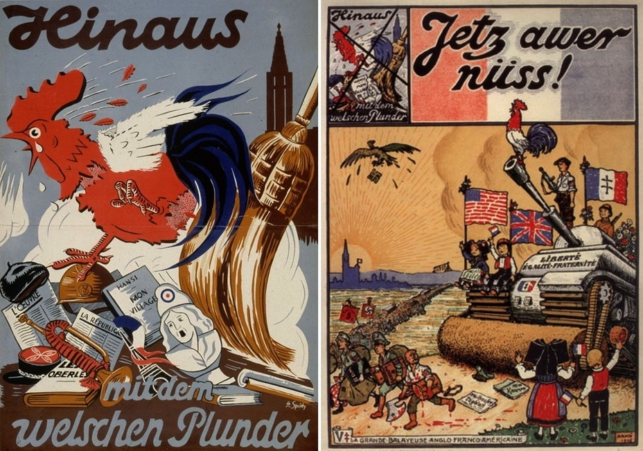 ​On the left is a 1940 German poster — «Get out!» The German broom sweeps out everything French from the disputed territories. On the right: the same poster became a piece of French propaganda five years later - Highlights for Warspot: Alsace changing hands, Lorraine as a bargaining chip | Warspot.net