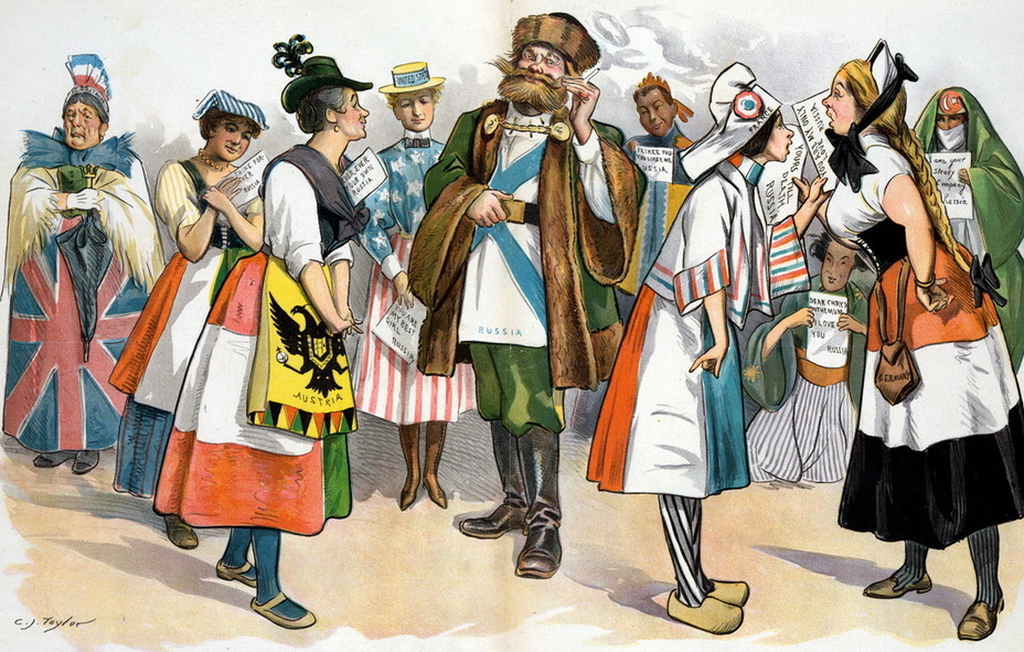 ​«Lady's man from Europe». Russia in the form of a man stands in a circle of countries, each of them received his assurances of love and loyalty. Great Britain on the far left is the only one left without a love letter (October 27, 1897) - Highlights for Warspot: the Russian Empire through the eyes of American cartoonists | Warspot.net