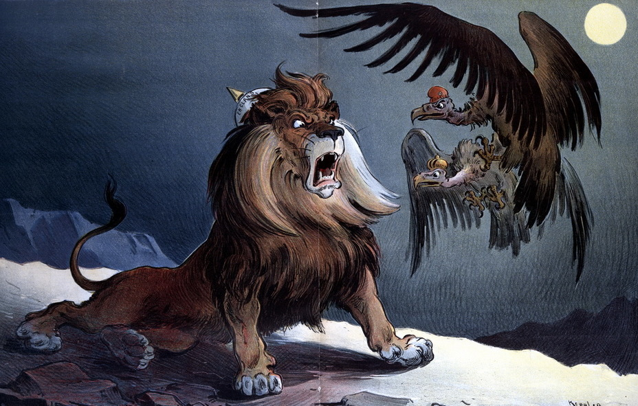 ​«Not Dead Yet». Vultures called «France» and «Russia» hover over the British lion, waiting to see if he dies (January 17, 1900) - Highlights for Warspot: the Russian Empire through the eyes of American cartoonists | Warspot.net