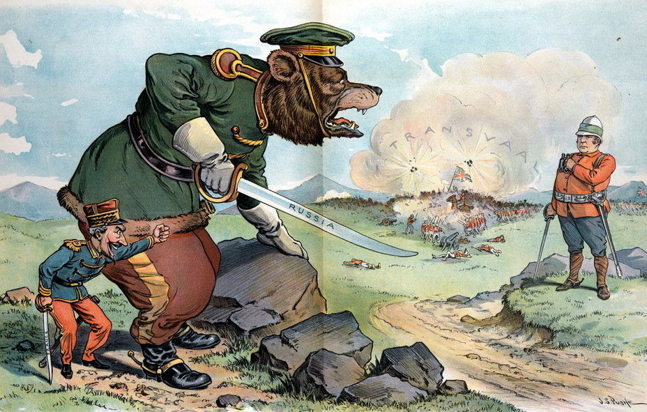 "​""Reckless Challenge"". France threatens to set a Russian bear on the English John Bull, while a battle rages in the background with the inscription «Transvaal» (June 6, 1900) - Highlights for Warspot: the Russian Empire through the eyes of American cartoonists 