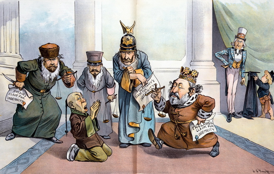 "​""Too Many Shylocks"". Russia, Japan, Germany and Great Britain in Jewish robes, with scales and bills of exchange are pressing on China, demanding to pay the bills. In the background, Uncle Sam puts on a judge's robe and is about to intervene (Shylock is a Shakespearean character, a Jewish usurer) (March 27, 1901) - Highlights for Warspot: the Russian Empire through the eyes of American cartoonists 