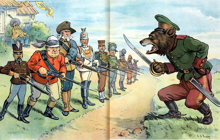 ​«The Last Chinese Wall». A Russian bear with a saber stands in front of Japan, Germany, France, Italy, Austria-Hungary, Great Britain, the United States, Turkey and Spain, all holding rifles with bayonets, behind them sits a laughing China (April 24, 1901) - Highlights for Warspot: the Russian Empire through the eyes of American cartoonists | Warspot.net