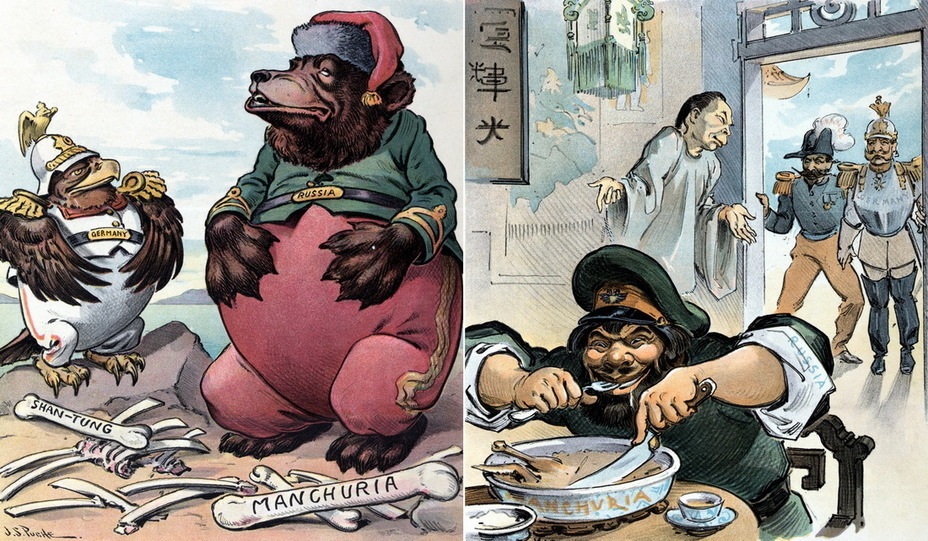 "​On the left: «Peaceful mood on a full stomach». A German eagle and a Russian bear rest after a meal. Bones are titled «Shan-Tung» and «Manchuria» — territories that fell into the sphere of interests of the two monarchies (April 9, 1902). On the right: «Who came first is served first."" Russia eats from a bowl labeled «Manchuria» in a Chinese restaurant. In the background, China apologizes to French President Emile Loubet and Kaiser Wilhelm II (May 13, 1903) - Highlights for Warspot: the Russian Empire through the eyes of American cartoonists 
