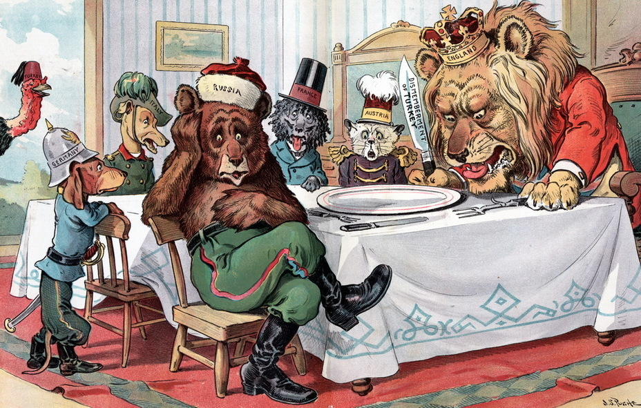 ​«Empty plate». British lion, Russian bear, Austro-Hungarian cat and dogs France, Italy and Germany gathered around the table for dinner. The lion is holding a knife with the inscription «Dismemberment of Turkey», but the plate is empty. The Turkish turkey has escaped and laughs outside (November 25, 1903) - Highlights for Warspot: the Russian Empire through the eyes of American cartoonists | Warspot.net