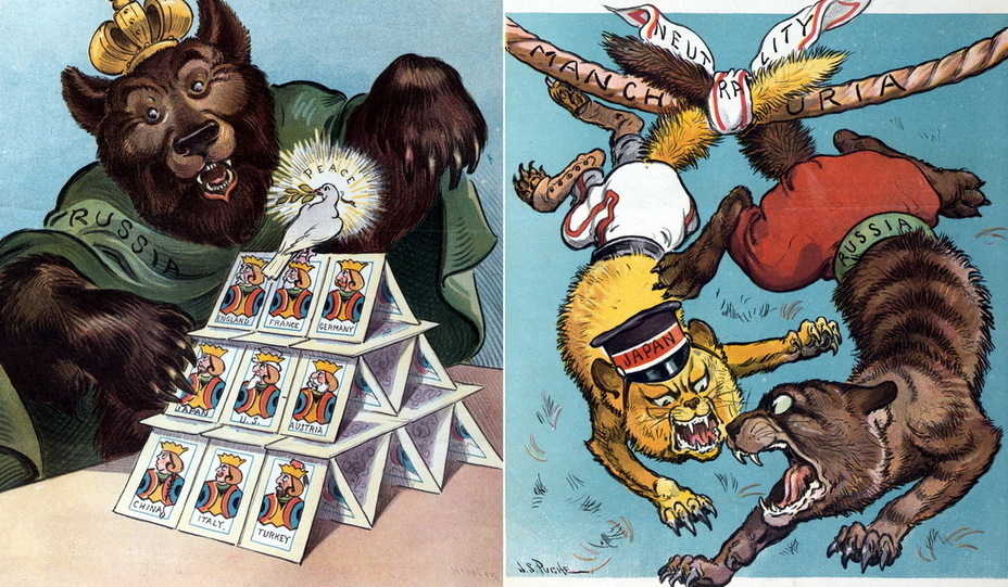 "​On the left: ""House of Cards"". The Russian bear is about to break the fragile structure on which the dove of peace sits. Cards with monarchs and presidents depict England, France, Germany, Japan, USA, Austria, China, Italy and Turkey. The bear's claws touch the card with the inscription «Japan» (January 20, 1904). On the right: ""East Kilkenny"". Two cats, Japan and Russia, are tied to a rope with the inscription «Manchuria» with a cloth entitled «Neutrality». Kilkenny cats are British folklore characters who lived in the British and Irish parts of the city, known for their deadly feud (March 16, 1904) - Highlights for Warspot: the Russian Empire through the eyes of American cartoonists 