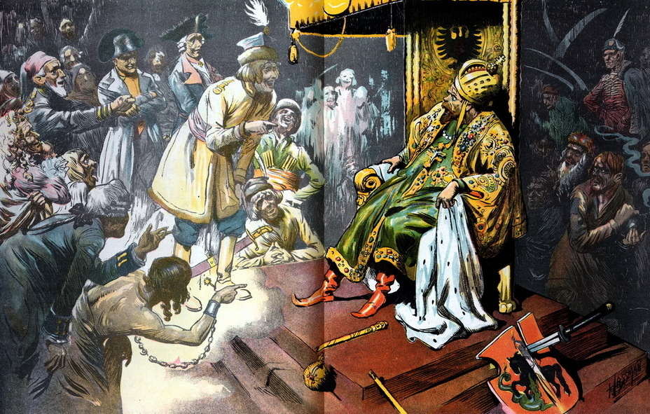 ​«The worst monarch». Nicholas II sits on the throne, he dropped the scepter and the orb. He is surrounded by the ghosts of the nationalities defeated by the Russians in the old days, laughing at the tsar — Poles, Hungarians, Turks, French, Prussians and others. On the right lies a shield with the Moscow coat of arms, split by a Japanese sword (August 9, 1905) - Highlights for Warspot: the Russian Empire through the eyes of American cartoonists | Warspot.net