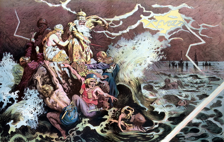 ​«Russian cataclysm». Priests, nobles, merchants, policemen and Cossacks cling to a rock in the stormy sea. In a flash of lightning in the background, the word «Revolt» is visible (November 29, 1905) - Highlights for Warspot: the Russian Empire through the eyes of American cartoonists | Warspot.net