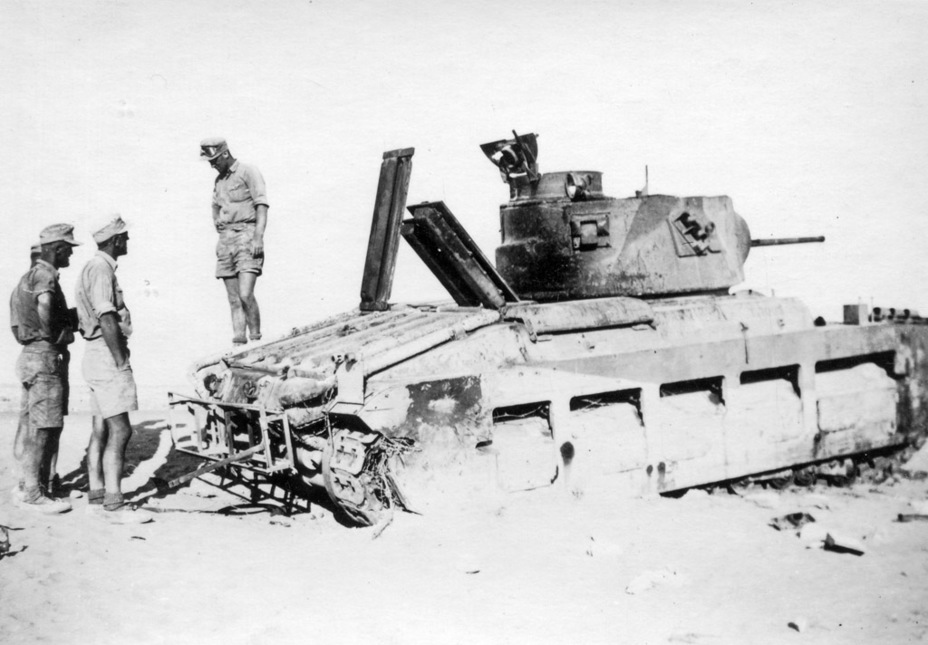 ​The sad end to Operation Battleaxe. The rear of the tank has a rack for fuel canisters - Short-Term Queen of the Desert | Warspot.net