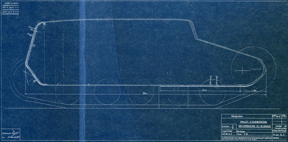​Blueprints of the hull with 40 mm of armour. The tank is still indexed «Renault ZM» - Renault R 35: More for Less  | Warspot.net