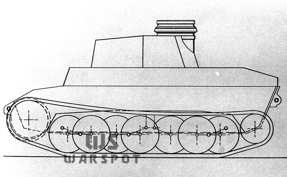 ​Diagram of the VK 20.01(D) chassis showing the same turret as the Z.W.38. Note that the leaf spring suspension shown here is not exactly simple - Panther's Ancestors | Warspot.net