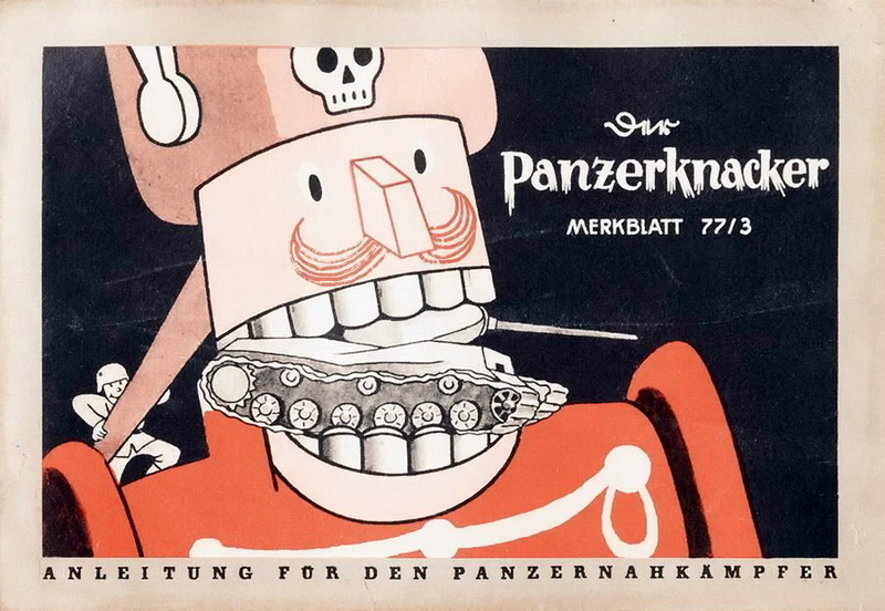 ​Cover of a Panzergrenadier's handbook that just as Nutcracker dashingly cracks Russian tanks. Something resembling KV-85 got stuck in Hoffmann fairytale character's wooden teeth - Highlights for Warspot: from the best angle | Warspot.net