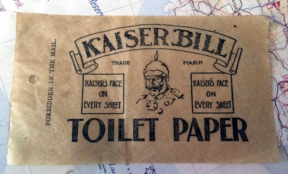 ​The wrapping of «Kaiser Bill» toilet paper reassuring customer that German monarch's face is on every sheet (https://kiwimedals.wordpress.com) - Highlights for Warspot: faces of enemy leaders | Warspot.net