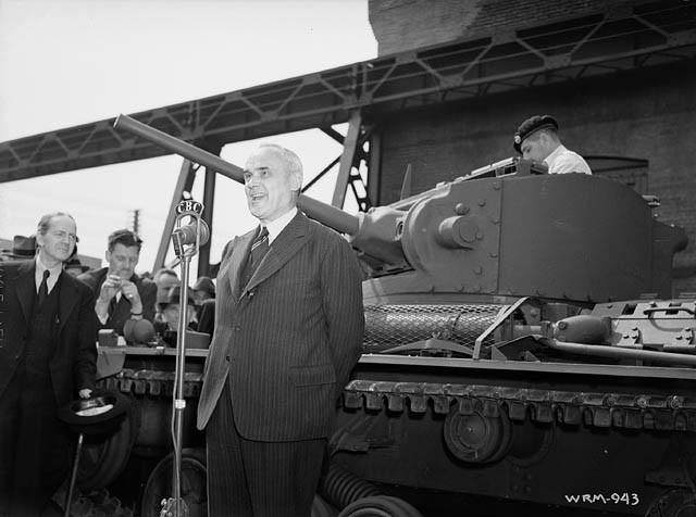 ​A ceremony revealing the first Valentine tank built in Canada. The tank was not finished at the time of showing and was quietly withdrawn back into the factory afterwards - Canadian Valentines | Warspot.net