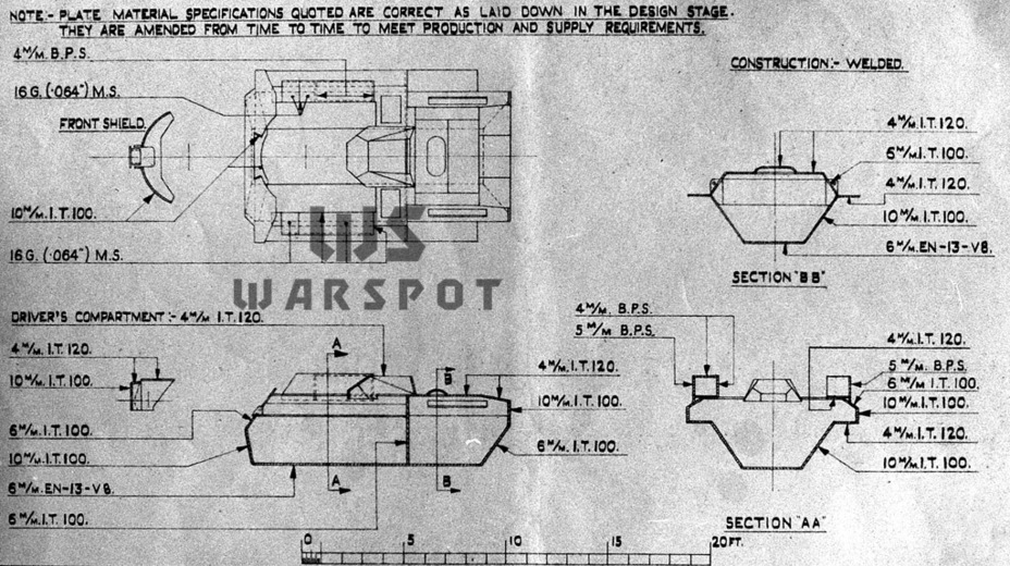 ​Armour diagram of the Alecto I prototype. The production vehicle had the same layout - Pocket Fury | Warspot.net