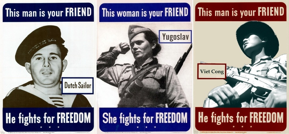​On the left is a Dutch sailor, and on the right are two modern fakes: a Yugoslav partisan and a Vietcong partisan - Highlights for Warspot: know your allies by sight | Warspot.net