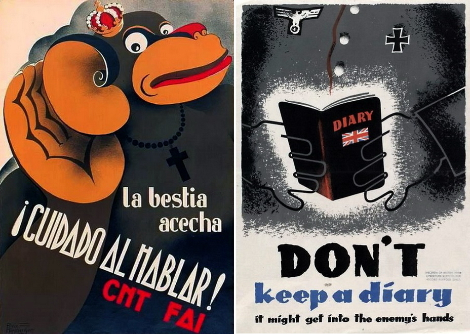 ​The poster on the left, issued by the Spanish Republicans in 1937, recalls the «hidden beast» and calls for silence. British poster on the right asks not to keep diaries during wartime — a valuable source of intelligence - Highlights for Warspot: world-wide vow of silence | Warspot.net