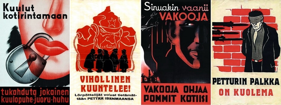 ​The harsh Finnish posters are not very colorful, but they clearly show the eavesdropping Red Army soldier and the consequences in the form of Soviet bombers over Finnish cities. They also threaten the traitors with execution - Highlights for Warspot: world-wide vow of silence | Warspot.net