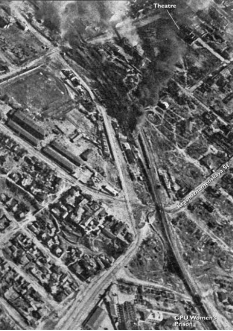 "​This aerial photo from Edelbert Hall's book «When the Volga Flowed with Blood» clearly shows the area of the City Garden and the two railway viaducts. The author of the book, a veteran of the 94th Infantry Division, noted the following objects in the photo: «Theater» — Gorky Drama Theater, ""GPU Women Prison"" – the city prison. The straight and wide Krasnoznamenskaya Street was simply called «line» by the Germans: it led directly to the Volga - Unknown Stalingrad: The City Garden 