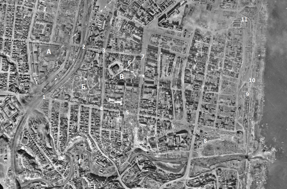 ​This aerial photo dated September 17, 1942 shows the following objects: a — Dynamo stadium, b — City Garden, c — Komsomol square, d — so-called. «Cotton factory». 1 — viaduct on Krasnoznamenskaya St, 2 — viaduct on Kubanskaya St, 3 — fire station (command post of the battalion from 272nd Rifle Regiment), 4 — intersection of Krasnoznamenskaya and Kommunist Streets, 5 — house «Inzhkoopstroy», 6 — GKO bunker (command post of 272nd Rifle Regiment), 7 — Gorky Drama Theater, 8 — command post of the 92nd Rifle Brigade, 9 — monument to Kholzunov, 10 — underground restaurant «Metro» (evacuation center No. 54), 11 — Palace of Physical Culture and Sports - Unknown Stalingrad: The City Garden | Warspot.net