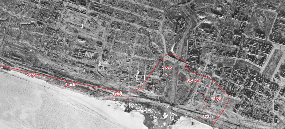 ​Scheme transferred to an aerial photo taken on March 29, 1943: the defense of Soviet units at 02:00 on September 26, 1942. The numbers indicate the objects mentioned in the radio communication: 1 — Market Square, 2 – Baths (the so-called «Tatar baths», current address 7B, Pugachevskaya Street), 3 — Hotel (the so-called «St. Petersburg rooms», the building has not survived) - Unknown Stalingrad: The City Garden | Warspot.net