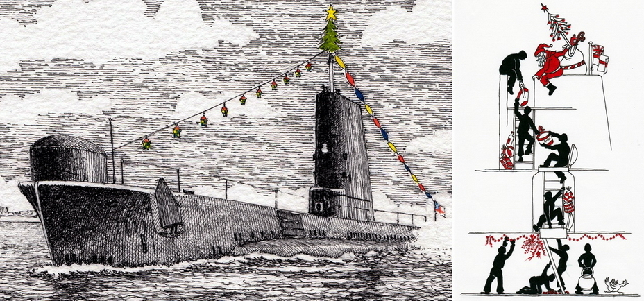 ​Improvised Christmas cards made by British submariners after the war. The right picture humorously shows the process of receiving gifts from Santa Claus on a submarine (https://www.rnsubmusfriends.org.uk) - Christmas under the periscope | Warspot.net