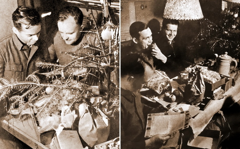 ​Submariners from the crew of U 123 are taking gifts and drinking punch in the commander's «nook» of the boat. In the background of the right picture there is Reinhard Hardegen (on the left) and Horst von Schroeter (on the right), who took command of the submarine after Hardegen. The photo was taken by photojournalist Alvin Tolly on December 24, 1941 - Christmas under the periscope | Warspot.net