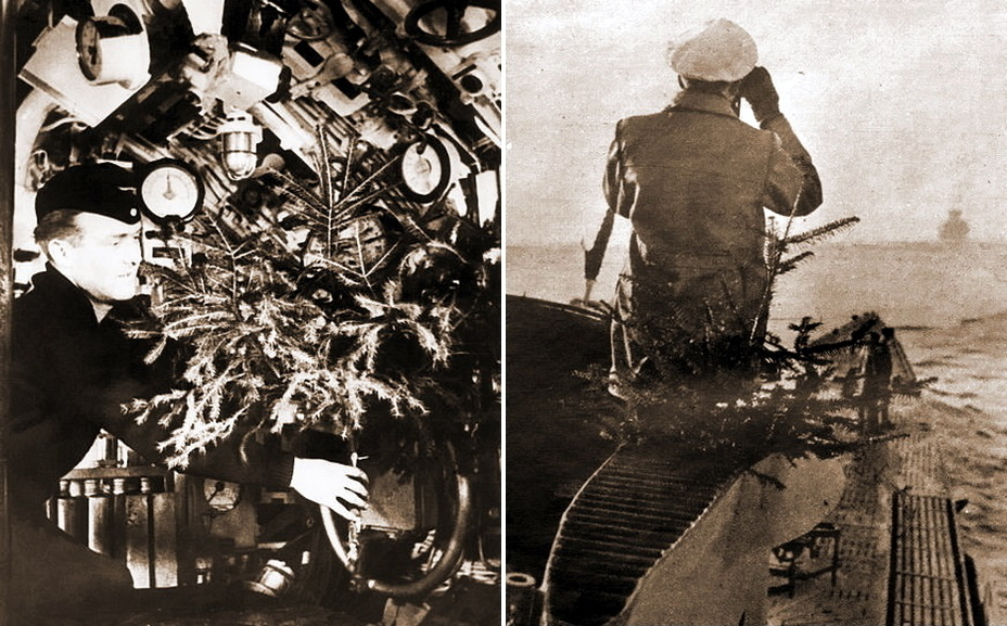 ​On the left: even a small Christmas tree has occupied the rest of the free place in the close compartment. On the right: Commander of the submarine and the Christmas tree on the bridge of a series IX German boat. (http://histomil.com) - Christmas under the periscope | Warspot.net