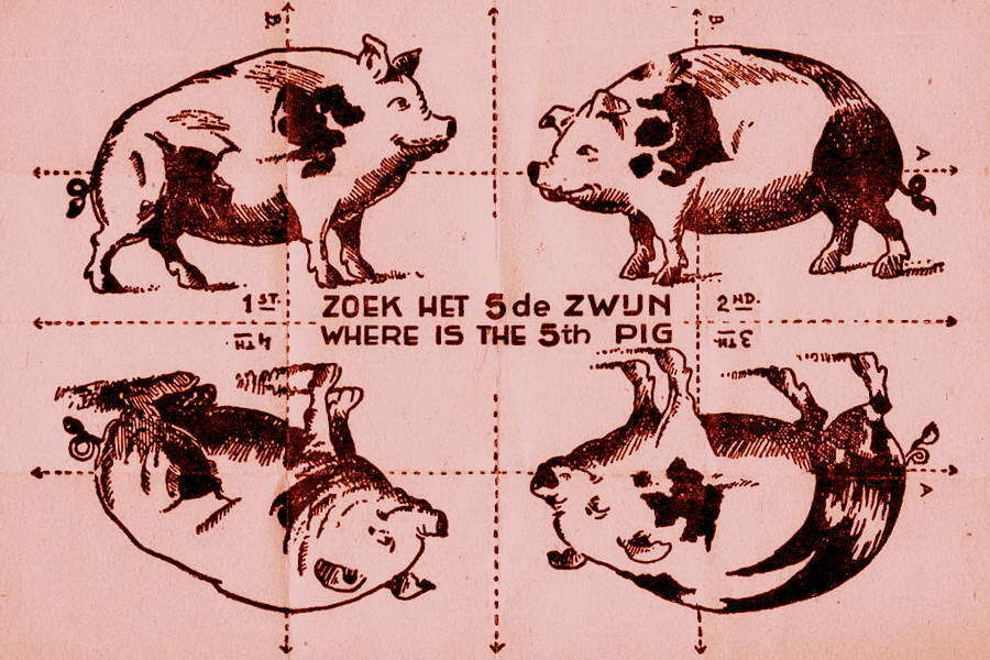 ​Such puzzles were being dropped by planes of the Royal Air Force in an enormous amount in the skies above occupied Europe as leaflets. This one was intended for the Netherlands - Highlights for Warspot: The fifth pig — from Hitler to Trump | Warspot.net
