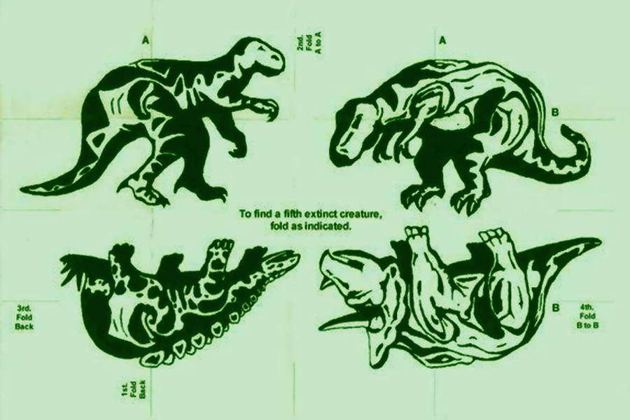 ​This puzzle is from 1991, the Gulf War. People were going crazy about dinosaurs, and the portrait of Saddam Hussein is made up of dinosaurs - Highlights for Warspot: The fifth pig — from Hitler to Trump | Warspot.net