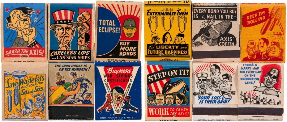 ​The majority of matchboxes or matchbooks traditionally encouraged people to crush the enemy. To do this, you had to avoid gossiping, work hard, buy national war bonds or save waste materials - Highlights for Warspot: Hot stuff | Warspot.net