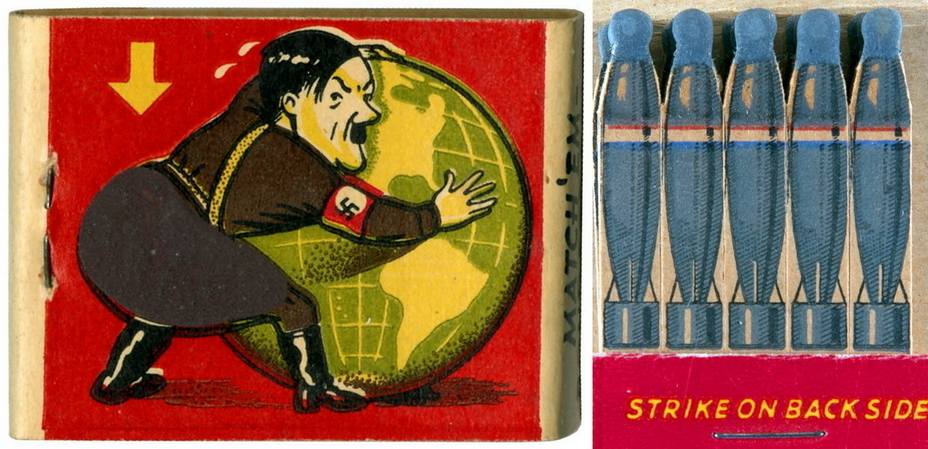 ​This matchbox is a true masterpiece. The striking surface is placed on Hitler's backside, and matches look like bombs - Highlights for Warspot: Hot stuff | Warspot.net