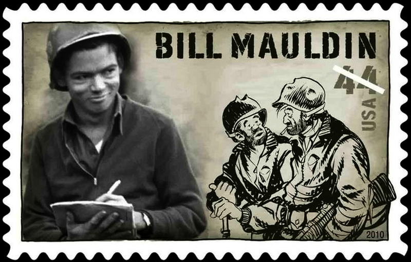 ​A 2010 U.S. postage stamp featuring Bill Mauldin, Willie, and Joe - Highlights for Warspot: Infantrymen Willie and Joe | Warspot.net