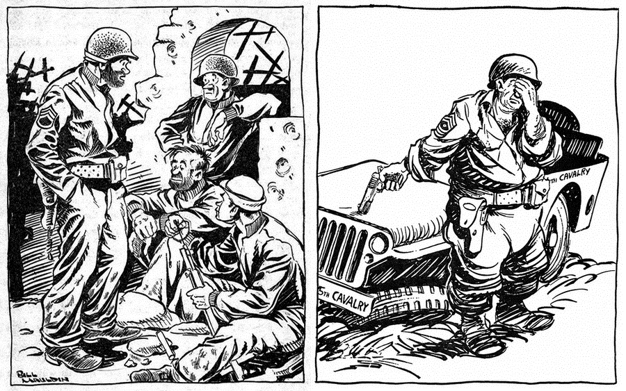 "​The left picture: ""I need a couple guys what don't owe me money for a little routine patrol."" The artist did not give any description to the right picture - Highlights for Warspot: Infantrymen Willie and Joe 