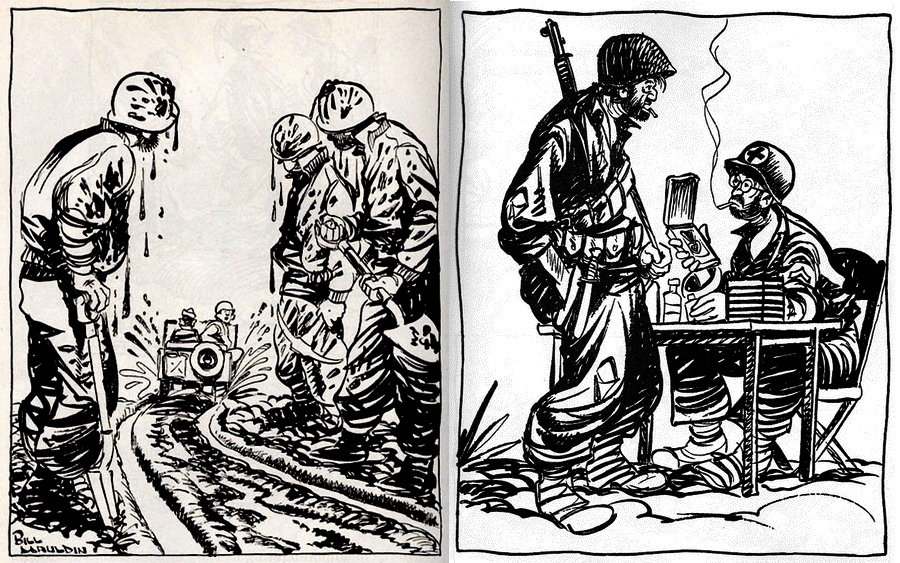 "​The left picture: ""Damn fine road, men!"" The right picture: ""Just gimme th'aspirin. I already got the Purple Heart."" - Highlights for Warspot: Infantrymen Willie and Joe 