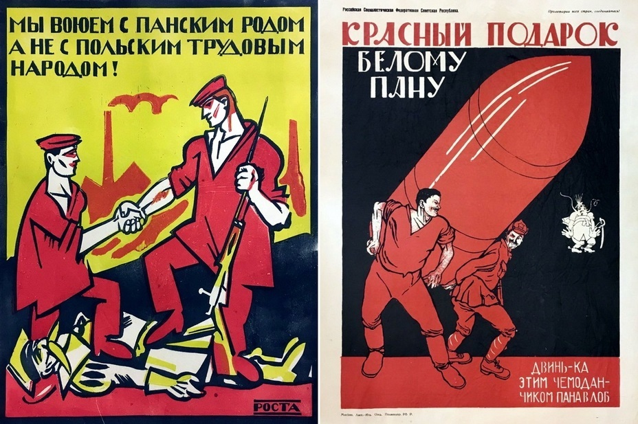 "​The left picture reminds: «We are at war with the landlords, and not with the Polish working class!» On the right: ""A red gift to the white landlords!» - Highlights for Warspot: War of the expectations that never came true 