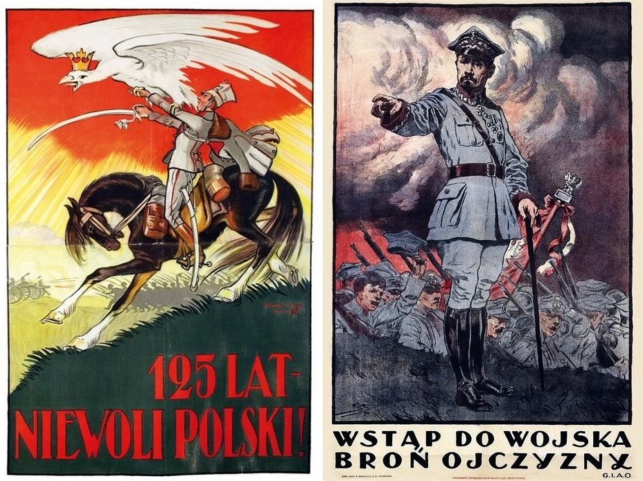 ​The Polish poster on the left recalls that 125 years had already passed since the last partition of Poland. In the right poster, one of the heroes of the Polish-Soviet War, the General Józef Haller calls for enlisting in the army and defending the homeland - Highlights for Warspot: War of the expectations that never came true | Warspot.net