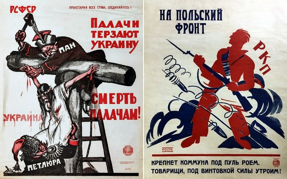 "​""Executioners torture Ukraine"". The left picture is one of the most famous posters from the Polish-Soviet War created by Viktor Deni. The poster depicts Petliura helping Poles crucify Ukraine. The ROSTA window poster on the right was created by Ivan Malyutin and is signed with Vladimir Mayakovsky's poem - Highlights for Warspot: War of the expectations that never came true 
