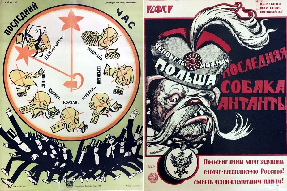 "​On the left: ""The last hour"". Only Poland and Wrangel left in the clock face. The time of others is up. On the right:"" Poland, the last dog of the Entente"". - Highlights for Warspot: War of the expectations that never came true 