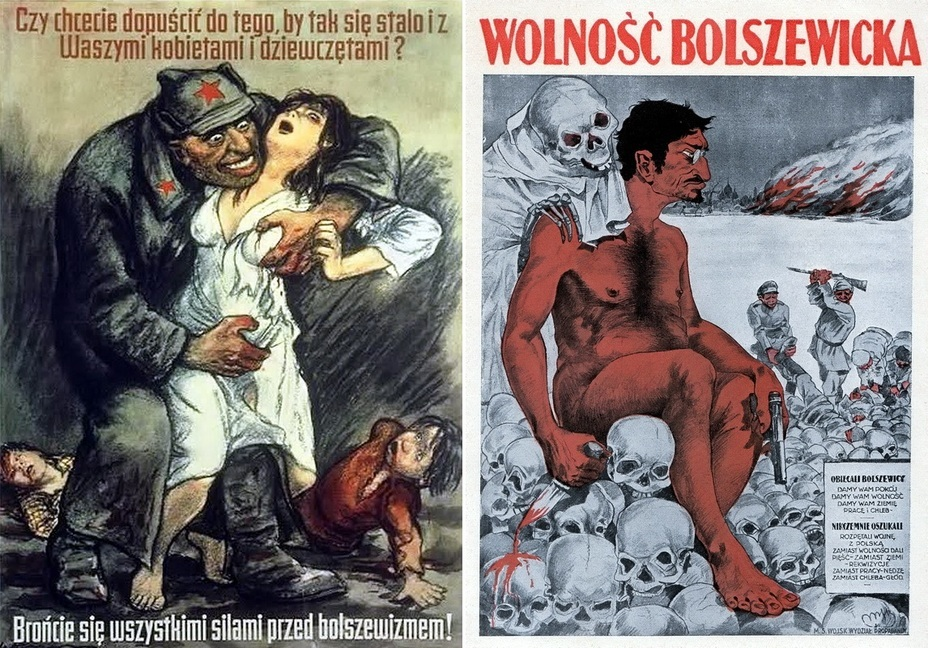 "​The left poster is probably the most well-known. «Do you want this to happen to your women and children? Protect them from the Bolsheviks!» On the right, you can see the poster depicting Trotsky and ""Bolshevik Freedom"" - Highlights for Warspot: War of the expectations that never came true 