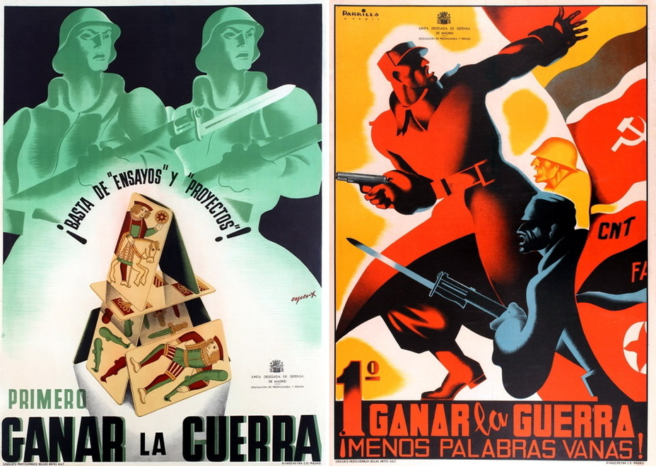 "​On the left: ""Enough projects and sketches! We must win the war now!"" The poster dated 1936 and issued in Madrid, calls the left political parties to stand up for the defense of the capital. On the right: ""The first win in the war! Less talking, more doing!"" The commander is leading the attack, the Spanish Republican flags and flags of left parties are in the background - Highlights for Warspot: The last romantic war 