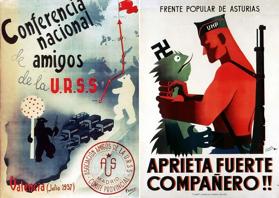​The left poster is devoted to a regional conference of the Association of Friends of the Soviet Union. The white Russian bear is sending food, weapons, and ammo to the black bear near the strawberry tree. Such a bear is depicted in Madrid's coat of arms. In the right picture, the Asturian soldier is strangling the green reptile with a swastika above its head - Highlights for Warspot: The last romantic war | Warspot.net
