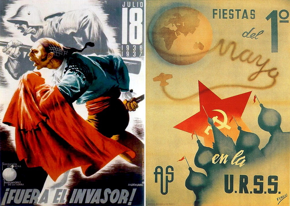 "​On the left:"" The enemy is close!"" The Republican propaganda tried to prove to the citizens that the war is not only civil but also against German and Italian invaders. The right poster created by the International Association of Friends of the Soviet Union informs of Labor Day. A very interesting detail are the red flags and church cupola highlighting that artist's familiarity with the USSR is apparently a bit general - Highlights for Warspot: The last romantic war 