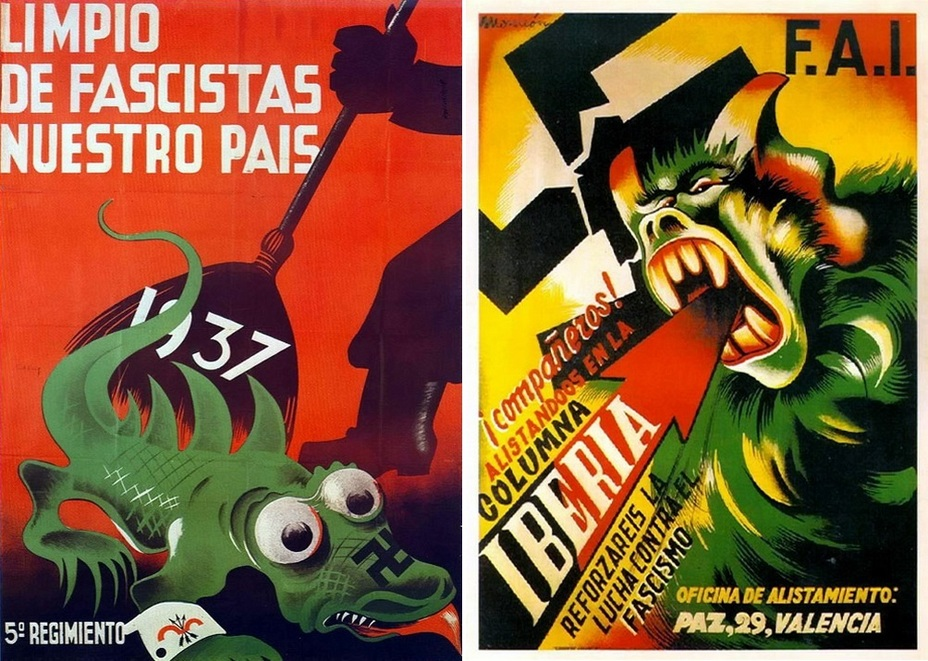 "​On the left picture:"" Let's purify our country of fascists!"" The soldier of the 5th Republican regiment sweeps away the green reptile with a swastika and the armband of the Falangists, the yoke and the set of arrows. On the right, there is a poster of the Iberian Anarchist Federation (Federación Anarquista Ibérica — FAI). An arrow colored in black and red kills the fascist beast. The Iberian anarchists did not cooperate with the Republican government, preferring to act independently - Highlights for Warspot: The last romantic war 