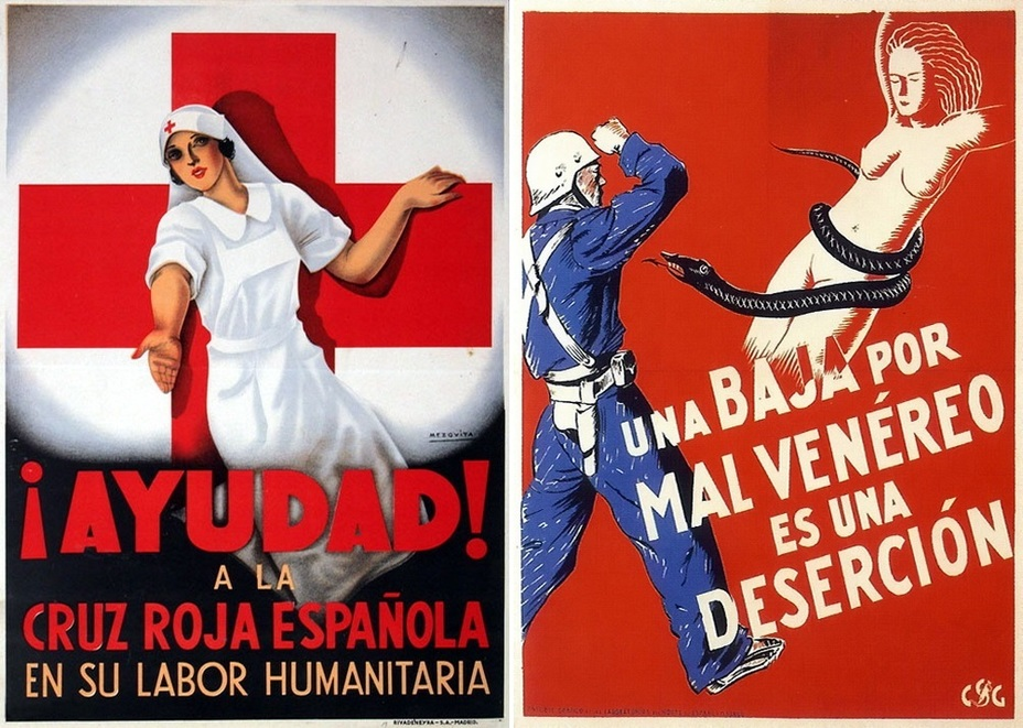 ​On the left poster, the Spanish Red Cross encourages help from indifferent people. The poster on the right equates venereal diseases with desertion. During World War II, similar ones will be issued in many countries - Highlights for Warspot: The last romantic war | Warspot.net