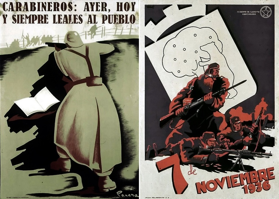 "​The left poster calls on the carabiniers to stay loyal to the people:"" Yesterday, today, and always."" Since the beginning of the nationalist revolt, the carabiniers were actually split in two parts. The poster on the right is devoted to the first anniversary of the defense of Madrid in the fall of 1936 - Highlights for Warspot: The last romantic war 
