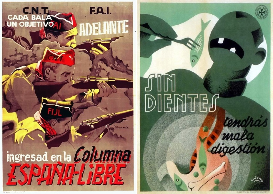 ​On the left, there is another poster highlighting the necessity of creating a united front to confront the Francoists. It depicts fighters from the Iberian Anarchist Federation, the Iberian Federation of Libertarian Youth, and the National Confederation of Labor. On the right, there is a poster of the medical service of the Republican army, reminding that digestion will be bad without teeth! - Highlights for Warspot: The last romantic war | Warspot.net