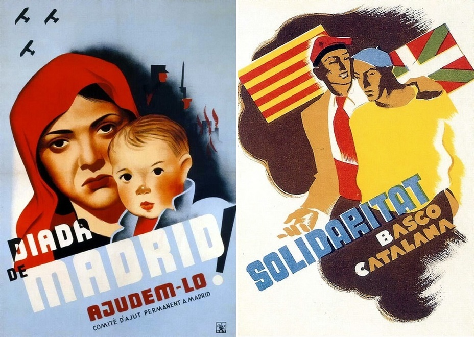 ​The left poster dated 1937 is devoted to the Day of Madrid in Barcelona, the right poster shows solidarity between Basques and Catalans - Highlights for Warspot: The last romantic war | Warspot.net