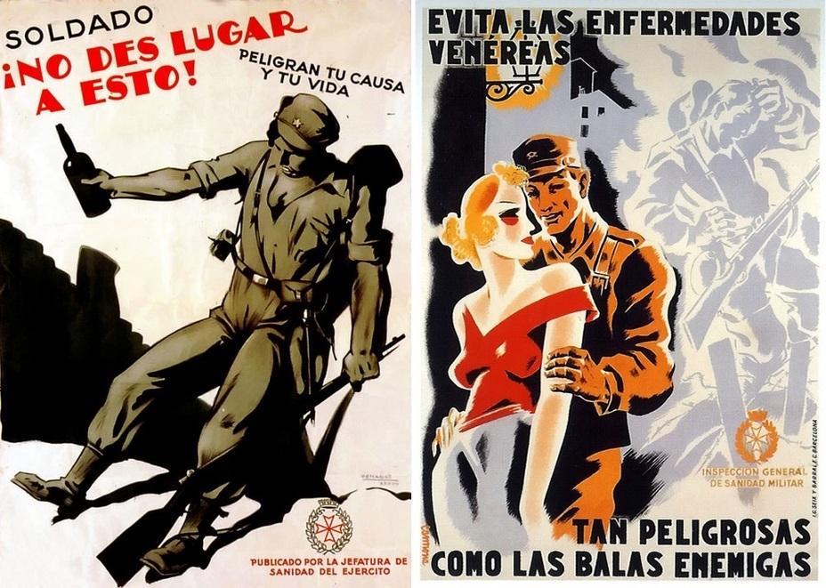 "​Two troubles. On the left: ""Soldier! Do not behave like that. Your business and your life are in danger!» On the right, there is a classic poster reminding about how dangerous sexual relations with prostitutes are: «Avoid venereal diseases! They are as dangerous as enemy bullets!» - Highlights for Warspot: The last romantic war 
