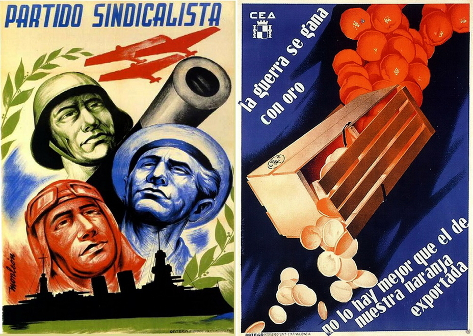 "​On the left, there is a poster of the syndicalist party, which is devoted to the unity of the red pilot, blue sailor, and green infantryman. On the left: ""The war is won by gold. We have nothing better than our oranges."" The Export Commission informs that oranges can be sold for currency that is acutely needed to support supplies from abroad - Highlights for Warspot: The last romantic war 
