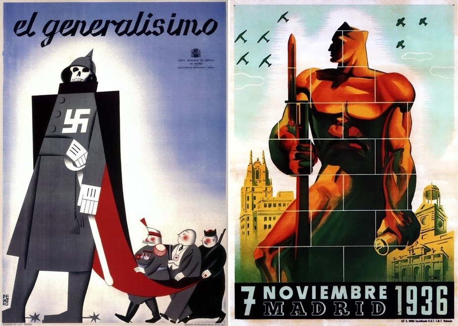 ​On the left, you can see a picture called «Generalissimo». The picture is making fun of Franco; the general, the banker, and the Catholic priest are gripping his greatcoat. The poster on the right is another one devoted to the defenders of Madrid, who fought for the city in the fall of 1936 - Highlights for Warspot: The last romantic war | Warspot.net